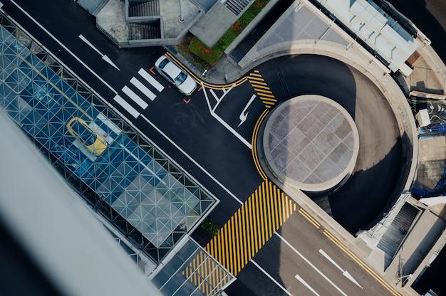 Aerial view of the asphalt and crosswalk