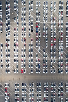 Aerial view of automotive car parking