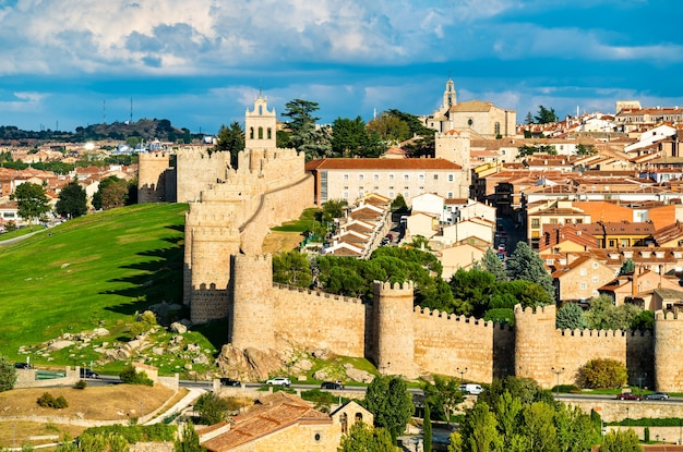 Aerial view of avila with its medieval walls. unesco world heritage in spain