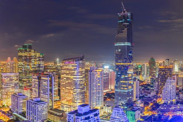 Aerial view of bangkok modern office buildings