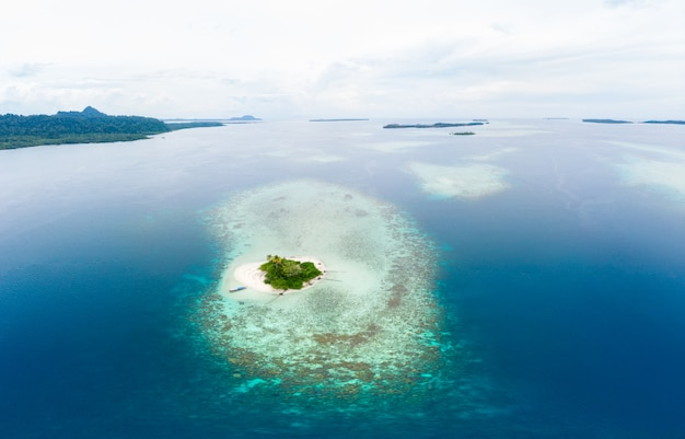 Aerial view banyak islands sumatra tropical archipelago indonesia