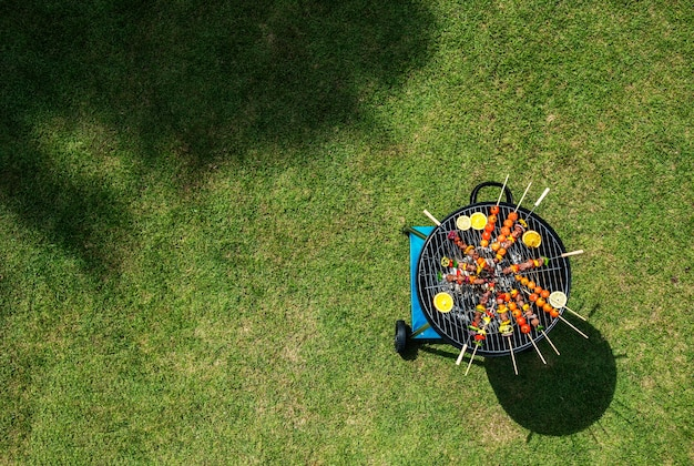 Aerial view of barbecues steaks on the charcoals grill