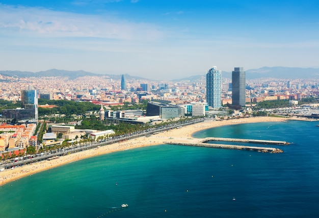 Aerial view of barcelona from mediterranean