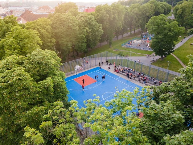Aerial view of basketball court outdoors copy space