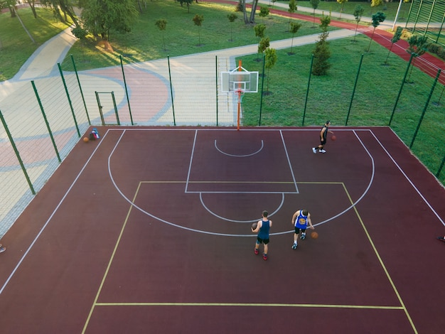 Aerial view of a basketball court outdoors