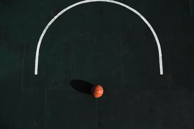 Aerial view of basketball on court