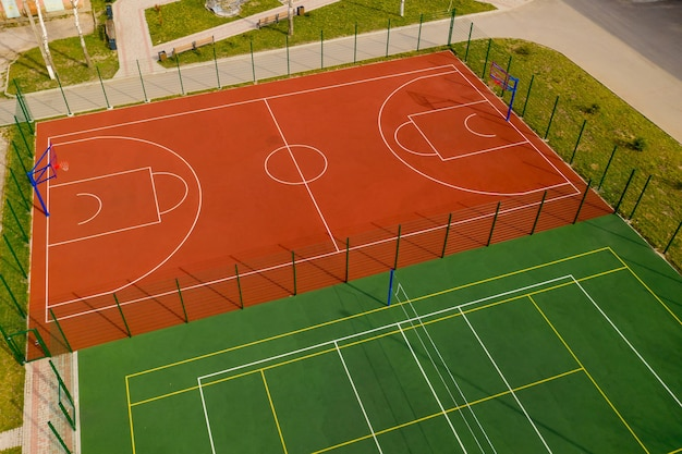 Aerial view of the basketball and volleyball court.