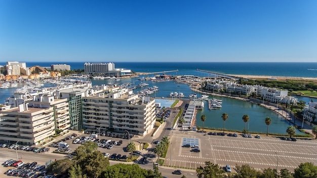 Aerial view of the bay of the marina, with luxury yachts in vilamoura, algarve.