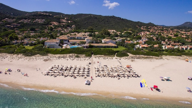 Aerial view of the beach of costa rei in southern sardinia.