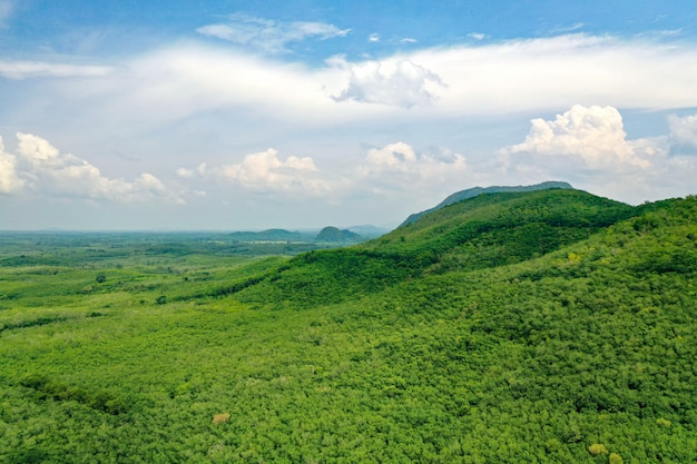 Aerial view of beautiful green mountains of southern thailand