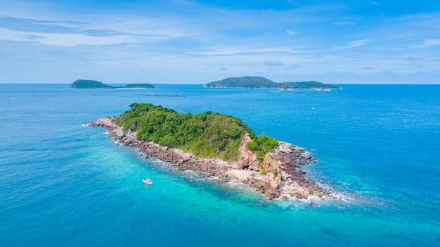 Aerial view of beautiful island in the ocean, sattahip thailand.