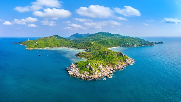 Aerial view of beautiful koh tao island in surat thani, thailand