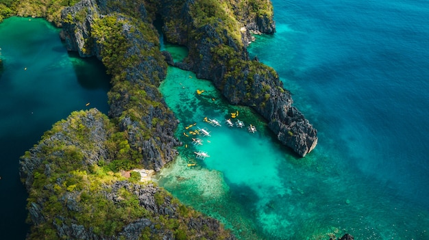 Aerial view of beautiful lagoons and limestone cliffs of el nido, palawan, philippines