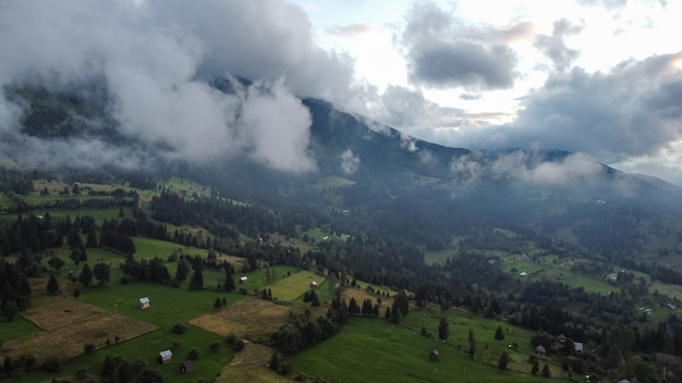Aerial view of beautiful landscape in mountains, romania.