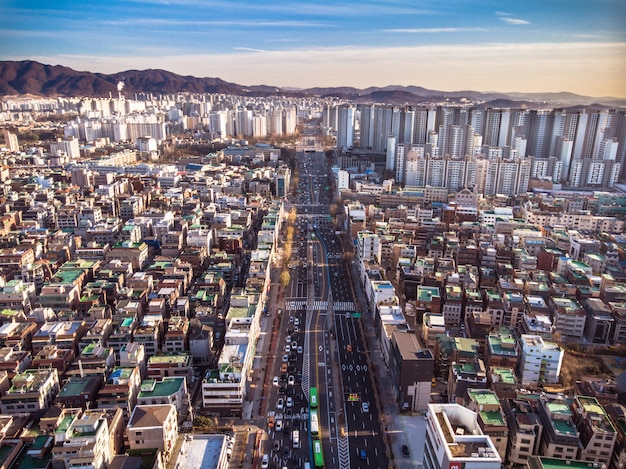 Aerial view of beautiful road inside the seoul