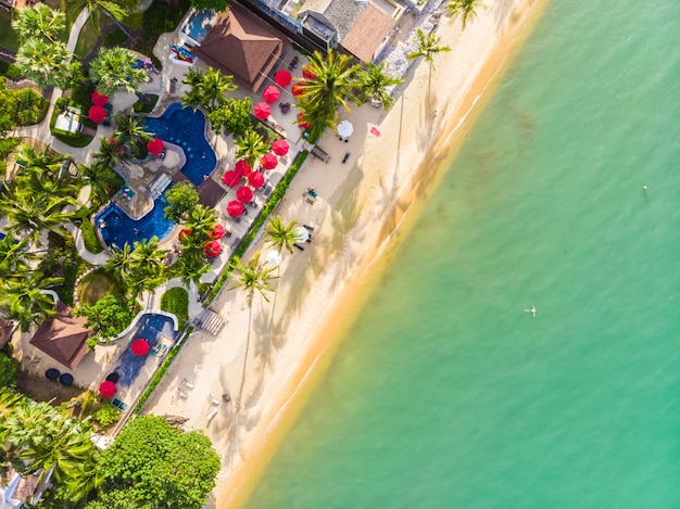 Aerial view of beautiful tropical beach