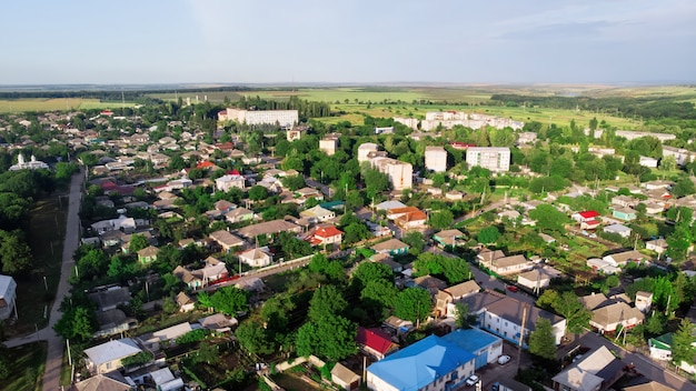 Aerial view of beautiful village surrounded by nature