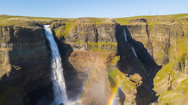 Aerial view of beautiful waterfall haifoss in iceland