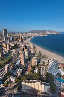 Aerial view of benidorm city skyline, in alicante province, spain.