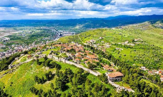 Aerial view of berat castle. in albania