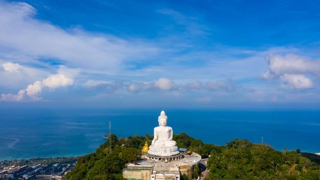 Aerial view big buddha white on the mountain at phuket thailand