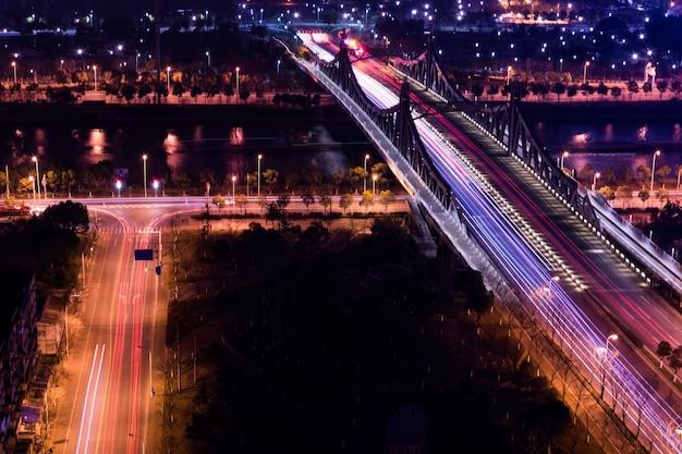 Aerial view of big city at night