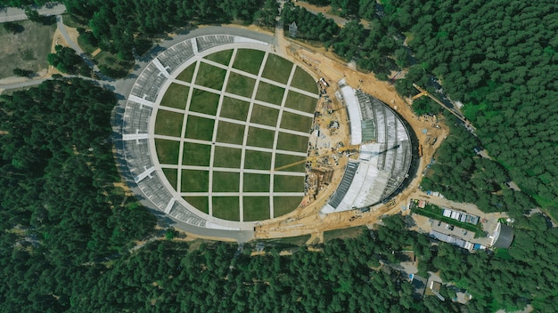 Aerial view of big construction site