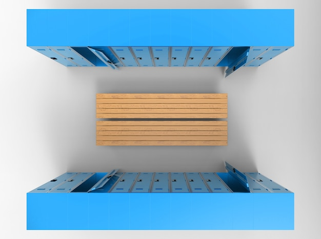 Aerial view of blue lockers rows separated by wood benchs