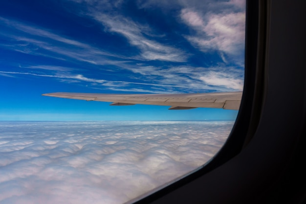 Aerial view of blue sky with clouds from window jet flight