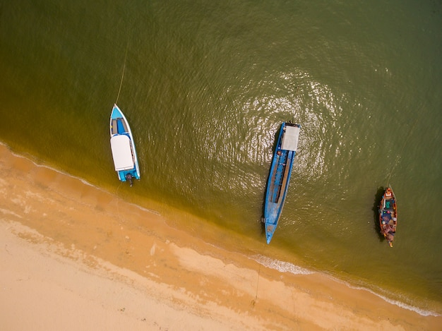 Aerial view of boats in the sea