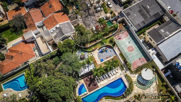 Aerial view of brazilian neighborhood  in sao paulo.