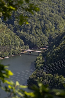 Aerial view of a bridge in an amazing mountain landscape in transylvania, romania