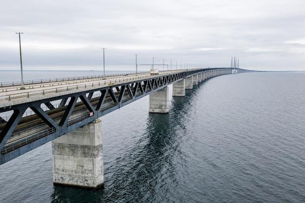 Aerial view of the bridge between denmark and sweden
