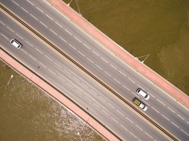 Aerial view of the bridge over the river