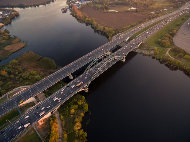 Aerial view of bridge with cars