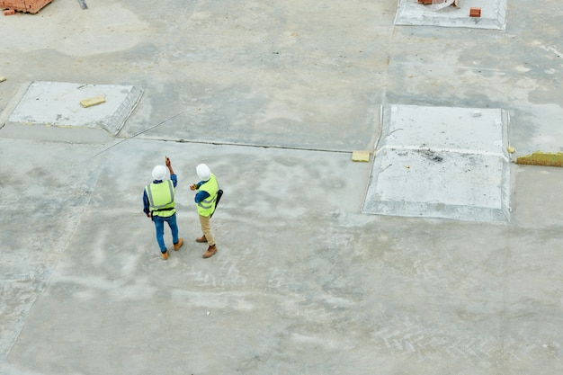 Aerial view of building inspectors