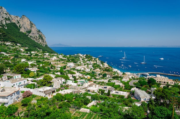 Aerial view of the buildings and seascape of capri island in italy.