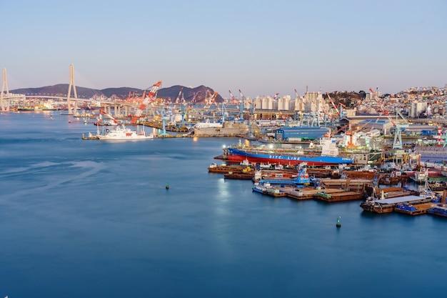 Aerial view of busan harbor bridge and the port of busan in south korea.