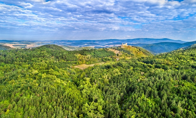 Aerial view of cachtice castle in the western carpathian mountains, slovakia