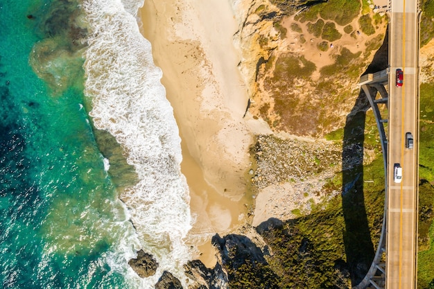 Aerial view of the california bixby bridge in big sur in the monterey county