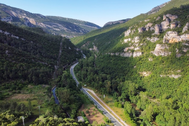 Aerial view of a canyon and the ebro river