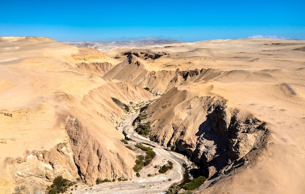 Aerial view of the canyon of the lost or canyon del zapa in ica, peru
