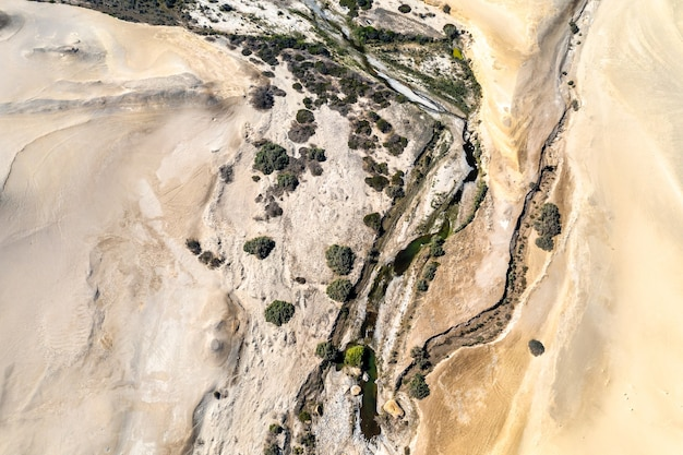 Aerial view of the canyon of the lost in ica, peru