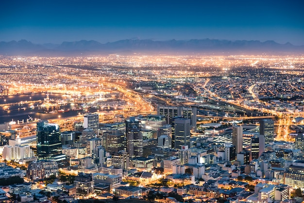 Aerial view of cape town from signal hill after sunset during the blue hour