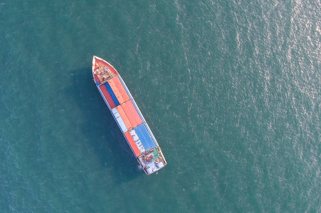 Aerial view cargo ship at the beach
