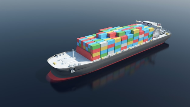Aerial view of cargo tanker ship sailing across the ocean. 3d rendering