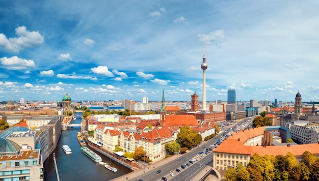 Aerial view of central berlin on a bright day, including river spree and television tower at alexanderplatz