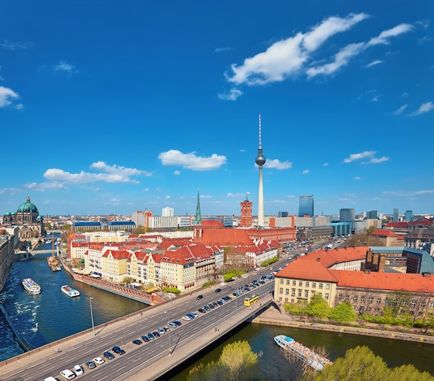Aerial view of central berlin on a bright day in spring