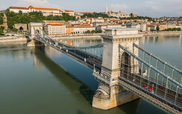 Aerial view chain bridge over the danube in budapest