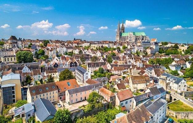 Aerial view of chartres city with the cathedral of our lady. a site in eure-et-loir department of france